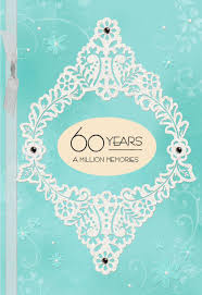 blue and white floral 60th anniversary card greeting cards