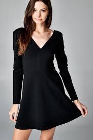 Long Sleeve Black Fit And Flare Dress Women U0027s Long Sleeve V Neck Fit Flare Black Mini Dress Memdalet