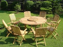 Wooden Garden Furniture Pretty Bright Outdoor Dining Table Sets With Charming Round Table