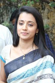 trisha hair in vtv cute trisha in blue saree cute trisha images