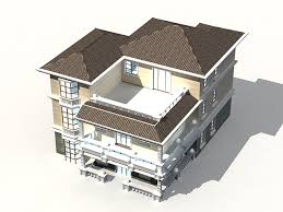 3 storey house 3d model 3ds max files free download modeling