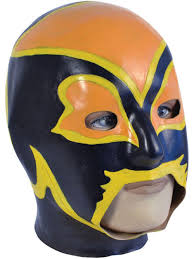 latex overhead wrestling mask fancy dress power superhero