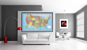 United States Map Poster by Classic Elite United States Wall Map Poster