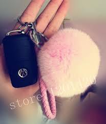 baby keychains car key chain fur pompom keychains baby pink key