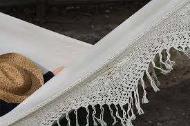 hand crocheted cotton fringe double hammock with stand vivere