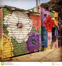 floral street art decorating a venice beach business editorial editorial stock photo