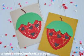 doily strawberry cards kid craft glued to my crafts