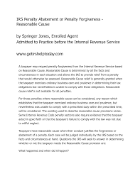 reasonable cause irs penalty abatement letter letter idea 2018