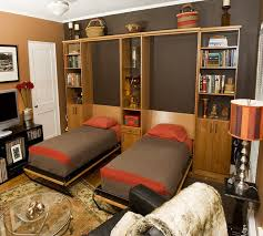 Beds With Bookshelves by Twin Murphy Bed Home Office Contemporary With Bookshelves Brown