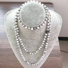 necklace stone bead images Hand knotted 42inch long necklaces nature stone 8mm white howlite jpg