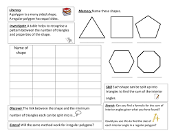 Regular Pentagon Interior Angles Angles In Polygons Investigation By Luna123 Teaching Resources Tes