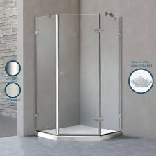 Frosted Frameless Shower Doors by Vigo 42 X 42 Frameless Neo Angle Frosted Chrome Shower Enclosure Lft