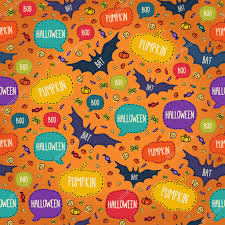 free repeatable halloween background seamless halloween pattern with flying bats and text bubbles