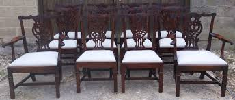 19th century victorian set of 12 antique mahogany chippendale