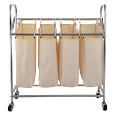 Laundry Hamper Replacement Bags by Costway 4 Bag Laundry Rolling Cart Basket Hamper Sorter Storage