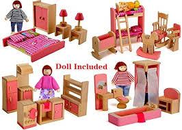 Amazon Wood Family Doll Dollhouse Furniture Set Pink