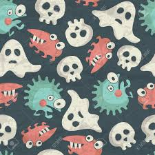 halloween background skulls halloween seamless pattern with spooky monsters ghosts and skulls