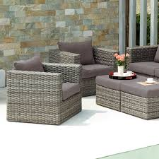 Grey Wicker Patio Furniture - furniture grey wicker chair and ottoman set with grey upholstered