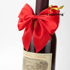bows for wine bottles pre satin ribbon with elastic rubber for wine bottle neck