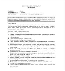Dental Assistant Job Duties Resume by 12 Administrative Assistant Job Description Templates U2013 Free