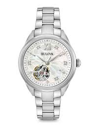 bulova ladies diamond bracelet watches images Women 39 s diamond stainless steel automatic classic watch bulova jpg