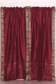 Sheer Maroon Curtains Maroon 84 Inch Rod Pocket Sheer Sari Curtain Panel