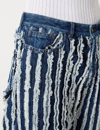 Denim Blue Black Denim Frayed Oversized Jeans Y Project F B Textile Pr G