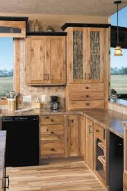 Rustic Kitchen Ideas - hickory cabinets rustic kitchen design ideas wood flooring pendant