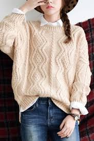 knitted sweater apricot neck sleeve cable knitted sweater