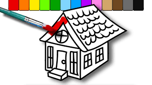 painting house coloring book for kids draw color and paint youtube