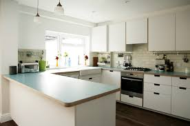 white cupboard and drawer fronts with turquoise pattered worktop