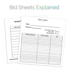 silent auction bid sheet auction planning tools template