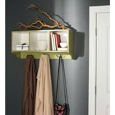 wall shelf coat rack in mounted white 16 the home avocado green