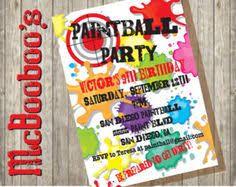 printable paintball birthday party invitation teen party invite