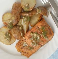 dill mustard brown sugar salmon and roasted potatoes with maple mustard dill