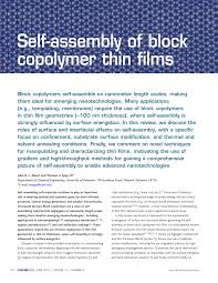 self assembly of block copolymers thin films pdf download available