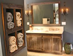 furniture built in rustic wood towel shelf plus vintage bathroom