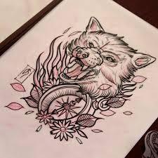 custom antalya neo traditional wolf compass
