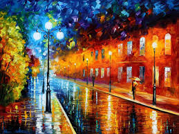 blue lights palette knife painting on canvas by leonid