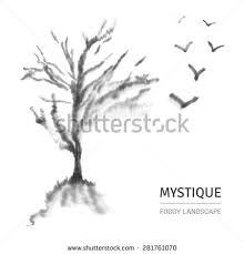 watercolor foggy landscape leafless tree bird stock vector