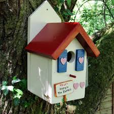 personalised handcrafted blue bird house siop gardd