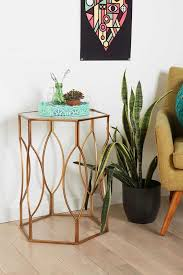 design mã bel second gold fretwork metal side tables hexagon and loop design home