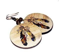 decoupage earrings decoupage earrings boho hippie style bronze feathers wooden