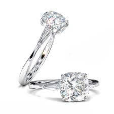 cushion diamond ring cushion cut engagement ring tapered baguettes