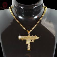 gothic jewelry necklace images Wholesale hiphop jewelry gothic gold chain necklace submachine gun jpg