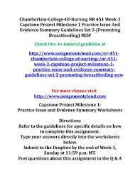 nr 451 capstone project milestone pico and evidence appraisal