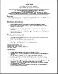 ideas collection fast food manager resume sample on layout