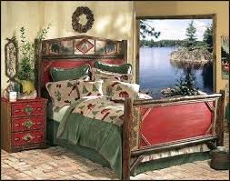Cabin Bedroom Furniture Cing Themed Bedroom Lake Bed Lake In The Woods Mural Rustic Log