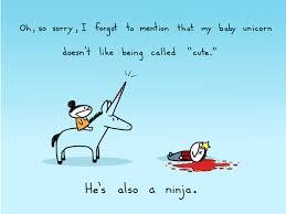baby ninja unicorn sebastien millon art illustration