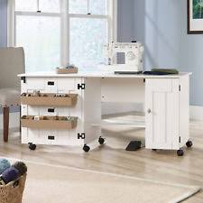 drop leaf craft table sewing machine table cabinet white ebay